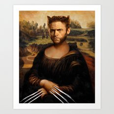 Hugh Jackman Mona Lisa Face Swap Art Print
