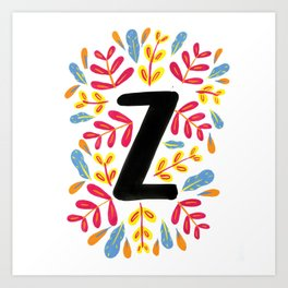 Letter 'Z' Initial/Monogram With Bright Leafy Border Art Print