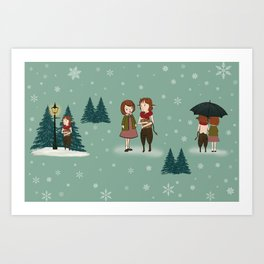 Lucy and Tumnus The Faun Winter Wonderland British Fairytale Childrens Book Illustration Book Lovers Art Print