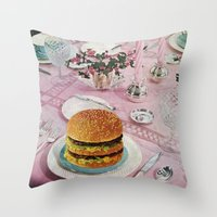 burger Throw Pillows featuring BURGER by Beth Hoeckel