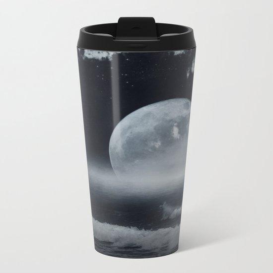 moon-lit ocean Metal Travel Mug