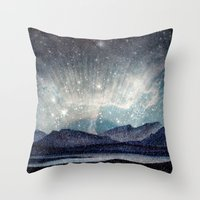 northern lights Throw Pillows featuring Northern lights by LisaB