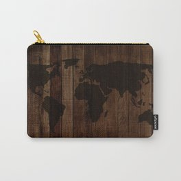 World Map in wood Carry-All Pouch