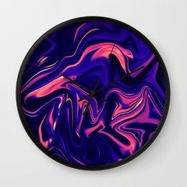 Abstract Marble Colorful Pattern Neon Coral Living Ultra Violet Blue Colors Wall Clock