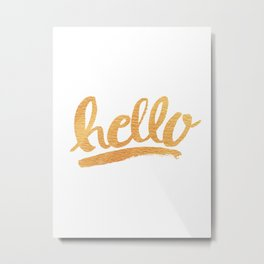 Hello Hand lettering - white and gold Metal Print