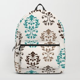 Heart Damask Art I Browns Teal Cream Backpack