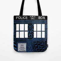 tardis Tote Bags featuring Tardis by Rebecca Bear