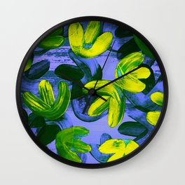 Acrylic Painting Layered Tulips Floral Pattern Neon Lime Yellow Green Purple Wall Clock