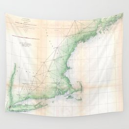 Vintage Coastal Map of New England (1864) Wall Tapestry