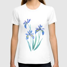 blue iris watercolor T-shirt