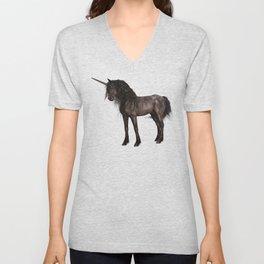 Dreamy Unicorn with brown grunge background Unisex V-Neck