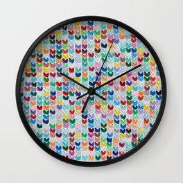Confetti Polka Daub Hearts Wall Clock
