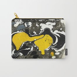 Marble Ink Yellow Black White Carry-All Pouch