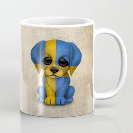 Cute Puppy Dog with flag of Sweden Coffee Mug