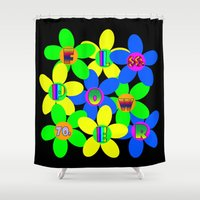 70s Shower Curtains featuring Flower Power 60s-70s by dedmanshootn