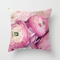 Pink Ranunculus Throw Pillow