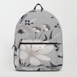 Modern, Boho, Floral Prints, Gray and White Backpack