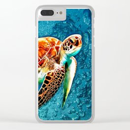 SEA TURTLE SWIMMING Clear iPhone Case