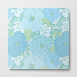 Light Blue Pastel Vintage Floral Pattern Metal Print