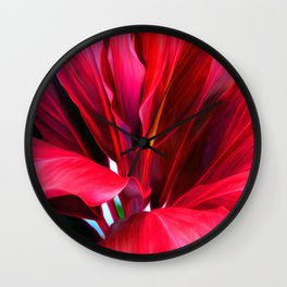 Red Ti Leaf Wall Clock