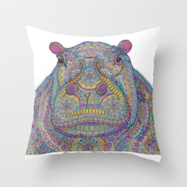 Hippie-Potamus (Multicolour) Throw Pillow