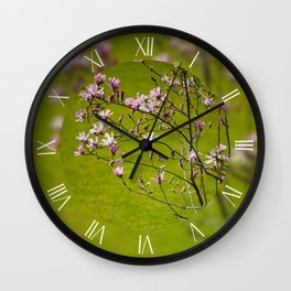 Vibrant pink Magnolia blossoming Wall Clock