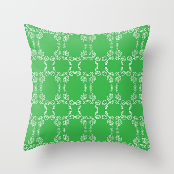 Hand drawn Seed Pods White on Spring Green Throw Pillow