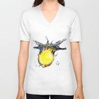 lemon V-neck T-shirts featuring lemon by jiyounglee0711