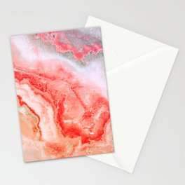 Luxury LIVING CORAL Agate Marble Geode Gem Stationery Cards