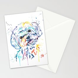 Havanese Colorful Watercolor Pet Portrait Painting Stationery Cards