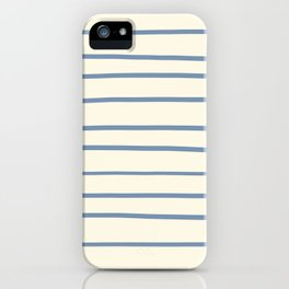 Dusk Sky Blue 27-23 Hand Drawn Horizontal Lines on Dover White 33-6 iPhone Case