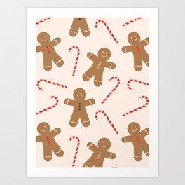 Gingerbread Man + Candy Cane Christmas Pattern Art Print