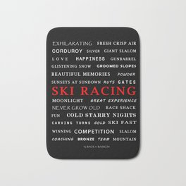 Ski Racing Black Bath Mat