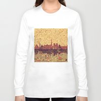 skyline Long Sleeve T-shirts featuring Paris skyline  by Bekim ART