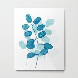 Teal Leaves Metal Print