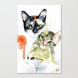 Three Cats, Watercolor Painting Canvas Print