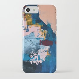 A Drop in the Ocean: an abstract piece by Alyssa Hamilton Art in blue, maroon, and peach iPhone Case