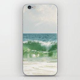 Ocean Sea Landscape Photography, Seascape Waves, Blue Green Wave Photograph iPhone Skin