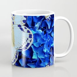 WHITE-PURPLE BUTTERFLIES BLUE MODERN ART Coffee Mug