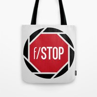 aperture Tote Bags featuring f/STOP SIGN by Sandhill