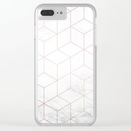 Rose Gold Geometric White Mable Cubes Clear iPhone Case
