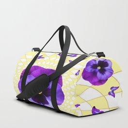 PURPLE BUTTERFLIES & PANSIES GEOMETRIC PATTERN Duffle Bag