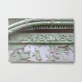 Flaked green paint on old press from Glasgow Metal Print