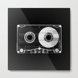 Black and White Retro 80's Cassette Vintage Eighties Technology Art Print Wall Decor from 1980's Metal Print