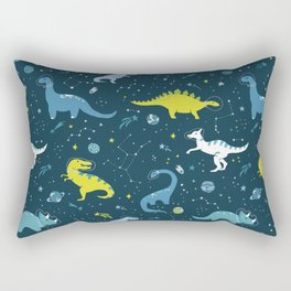 Space Dinosaurs in Bright Green and Blue Rectangular Pillow
