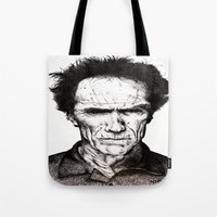 clint eastwood Tote Bags featuring Clint Eastwood by Danielle Ross
