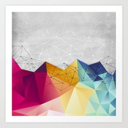 Polygons on Concrete Art Print