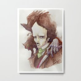 Edgar Allan Poe - Watercolor Metal Print