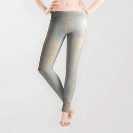 Champagne Gold Dots Pattern on Old Metal Texture Leggings