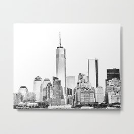 Freedom Tower Line Drawing Metal Print